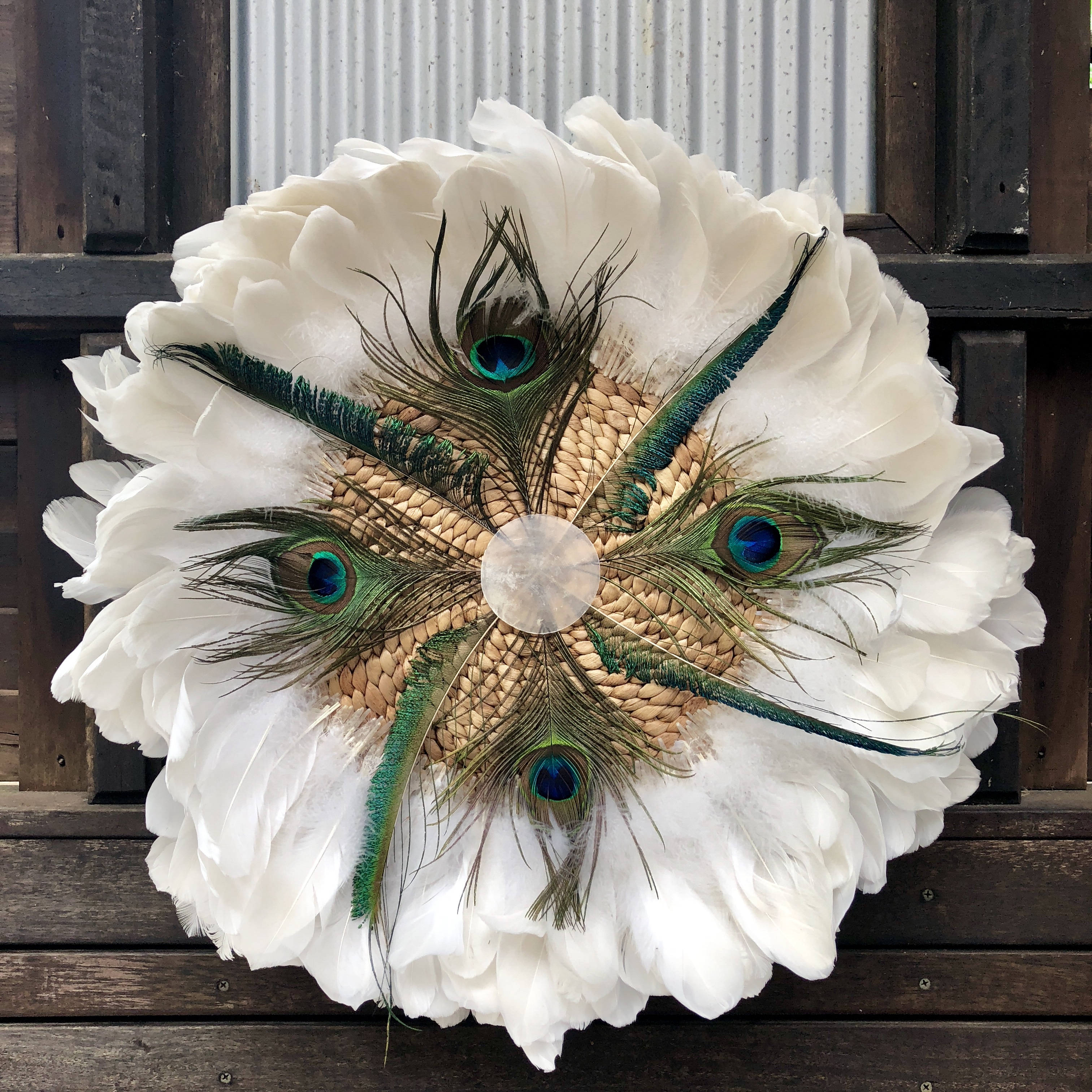 Peacock and White Goose Feather Mandala